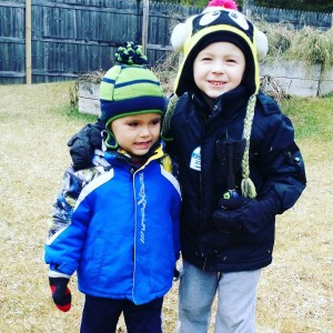 "Cousins :) Jack doesn't know what to make of this cold weather lol. He said, ""This is different winter mommy!"""
